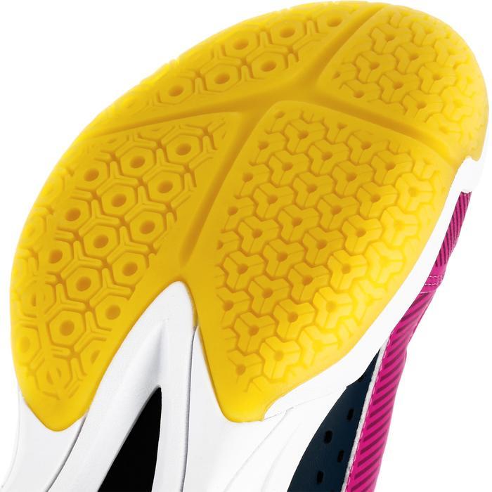 Chaussures de volley-ball V100 avec des scratches, bleues et roses