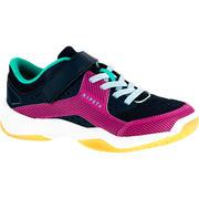 Zapatillas de voleibol V100 con tiras autoadherentes, azules y rosa