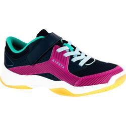 Volleybalschoenen V100 met klittenband blauw en roze