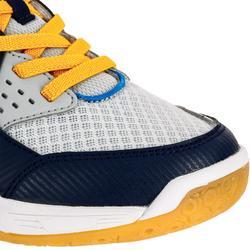 Chaussures de volley-ball V100 garçon avec scratches grises et bleues