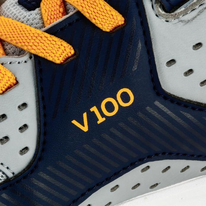 Volleyballschuhe V100 Klettverschluss Kinder grau/blau