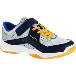Zapatillas de voleibol V100 niño tiras autoadherentes gris y azul