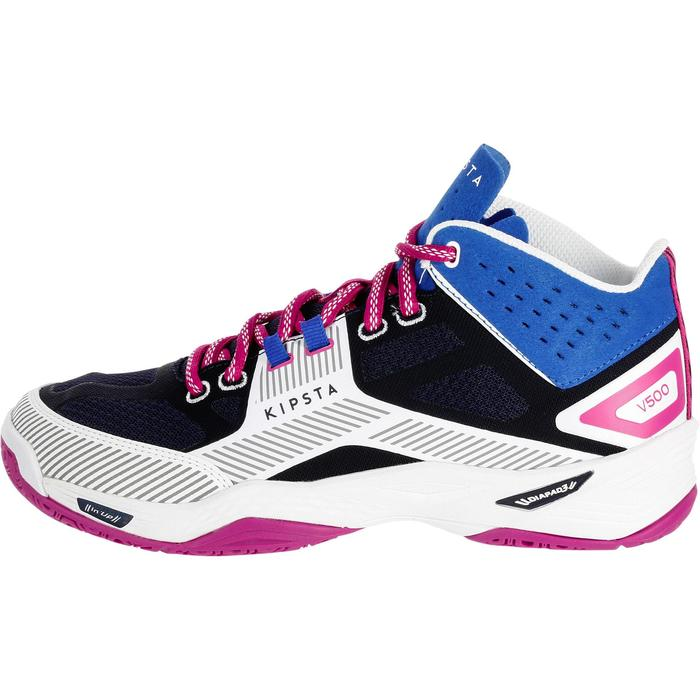 Chaussures mid de volley-ball V500 bleues et blanches
