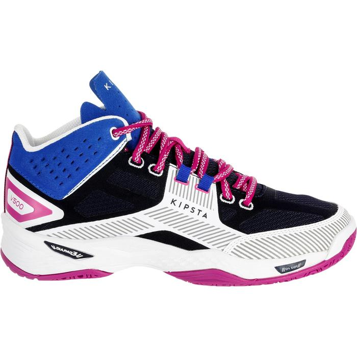 Chaussures mid femme de volley-ball V500 bleues et blanches