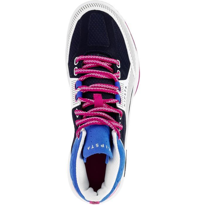 Zapatillas de voleibol mid V500 mujer azul y blanco