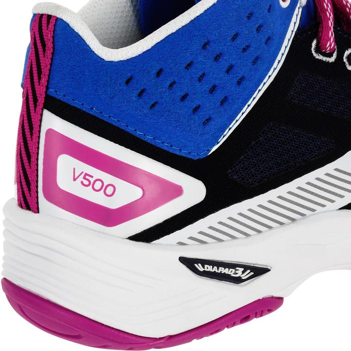 Volleyballschuhe V500 halbhoch Damen blau/weiß