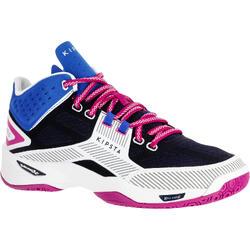 Zapatillas de Voleibol Allsix Mid V500 mujer azul blanco y rosa