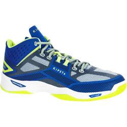 Zapatillas de Voleibol Allsix Mid V500 hombre azul y amarillo