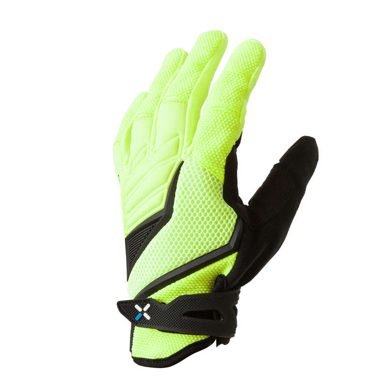 ADULT WARM WEATHER CROSS C. MTB GLOVES Cycling - 900 Mountain Bike Cycling Gloves - Neon Yellow ROCKRIDER - Bike Accessories