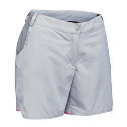 女款登山健行短褲MH100-淺灰色