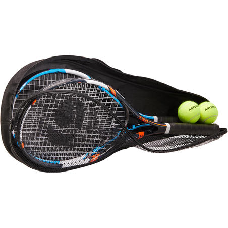 TR130 Adults' Set of Two Racquets and Two TB160 Balls - Blue/Orange
