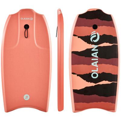 Bodyboard 100 corail enfant 6-12 ans 35_QUOTE_ avec semelle de glisse et leash