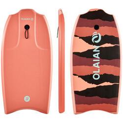 """Bodyboard 100 koraal voor kinderen 6-12 jaar 35"""" met slick en leash"""