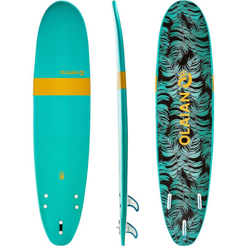 Planche de surf en mousse 8' 100. Livrée avec un 1 cordon et 3 ailerons.