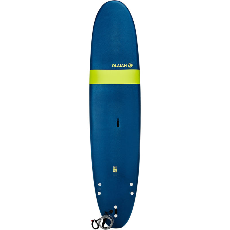 Planche de surf en mousse 8'6_QUOTE_ 100. Livrée avec 1 leash et 3 ailerons.