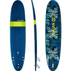 "100 Foam Surfboard 8'6"". Supplied with a leash and three fins."