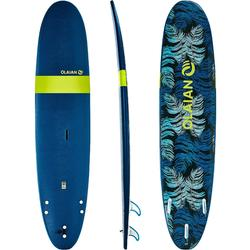 """100 Foam Surfboard 8'6"""". Supplied with a leash and 3 fins."""