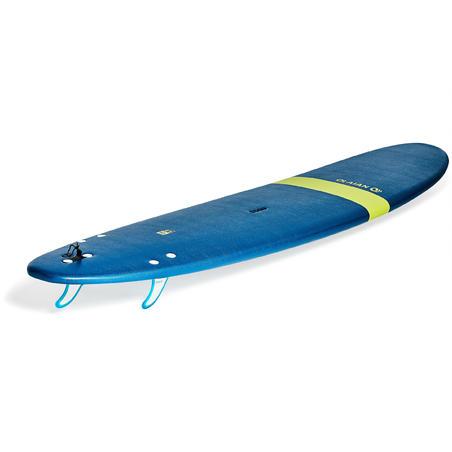 """Planche de surf en mousse 8'6"""" 100. Livrée avec 1 leash et 3 ailerons."""