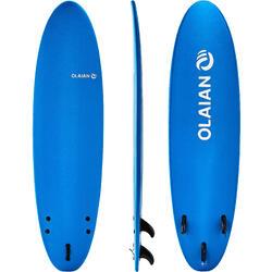Foam surfboard 100 7' met een leash en 3 vinnen