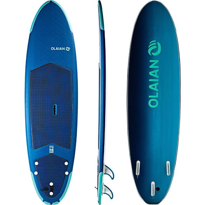 Surfboard aus Schaumstoff 500 Soft 7' mit Leash und Finnen
