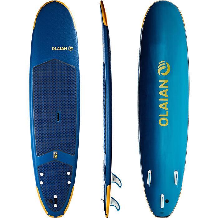 Planche de surf en mousse 500, 8'. Livrée avec un leash et 3 ailerons. - 1313480