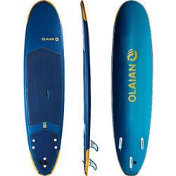 """Surfboard Soft Top 8"""" 500 Geleverd met een leash en drie vinnen."""
