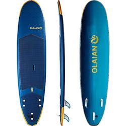 Tabla Surf Espuma Evolutiva Olaian 500 8' Adulto Azul Amarillo Leash Quillas