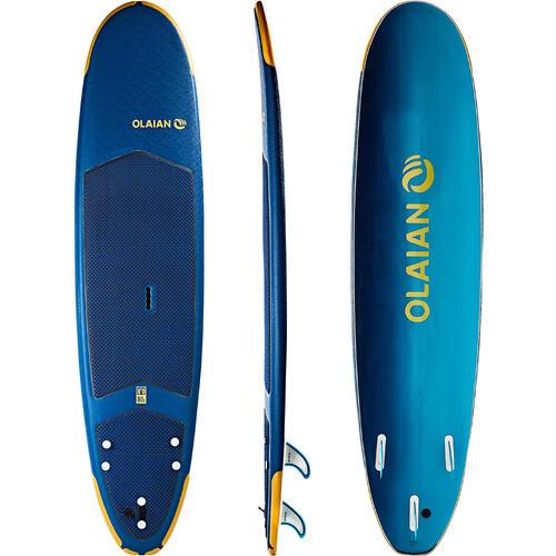 Planche de surf en mousse 8'' 500. Livrée avec un leash et 3 ailerons.