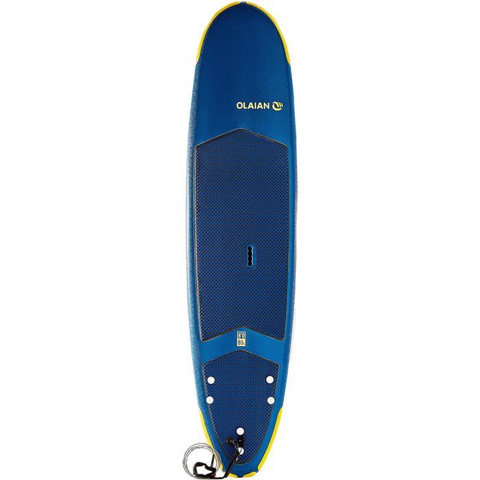 Surfboard 500 Schaumstoff Soft 8' mit Leash und 3 Finnen