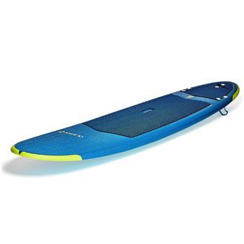 """Planche de surf en mousse 8'6"""" 500. Livrée avec un leash et 3 ailerons."""