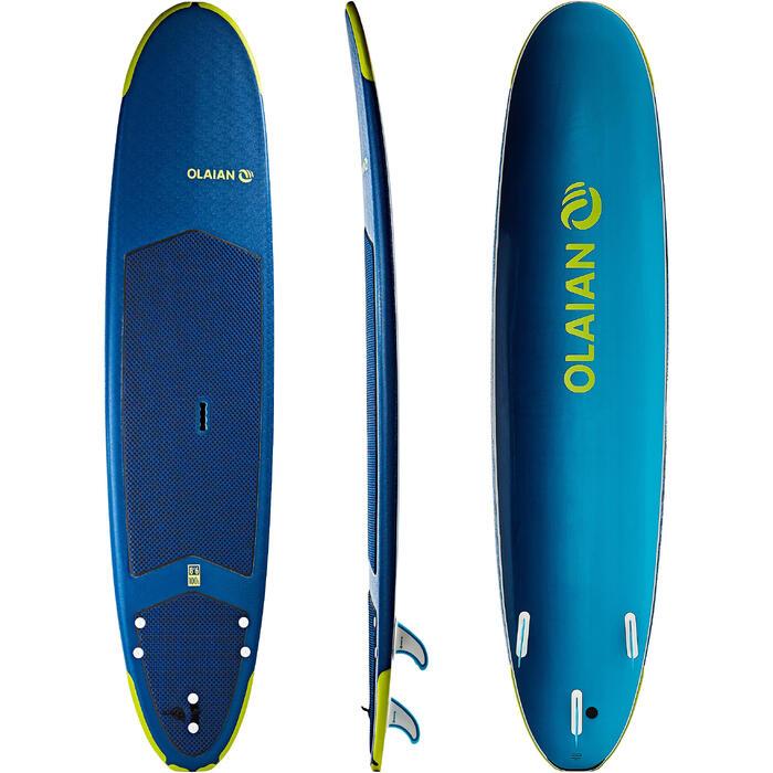 """Planche de surf en mousse 500, 8'6"""". Livrée avec un leash et 3 ailerons. - 1313509"""