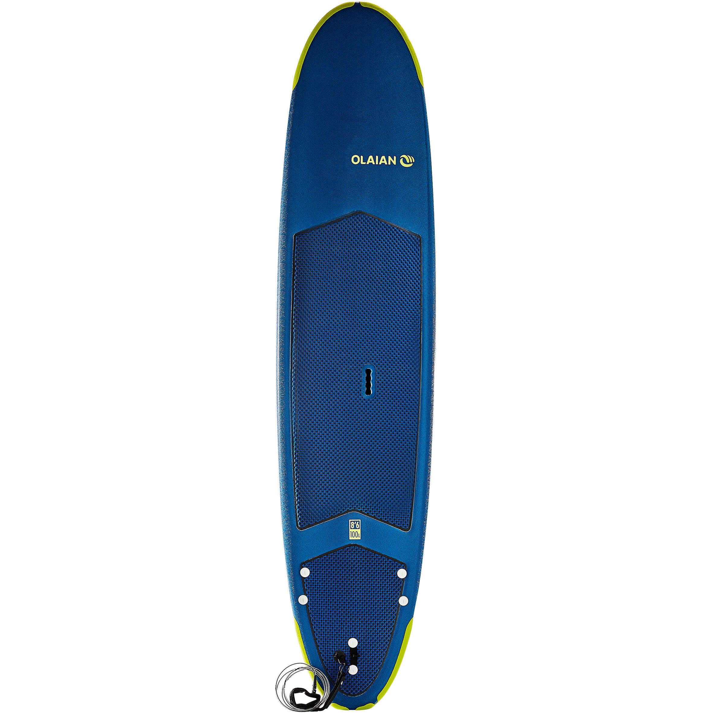 500 Foam Surfboard 8'6_QUOTE2_. Supplied with a leash and 3 fins.
