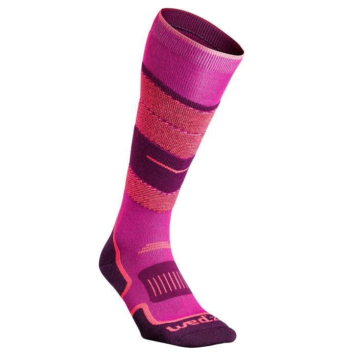 成人滑雪襪300 - 粉色
