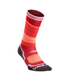 兒童滑雪襪300紅色