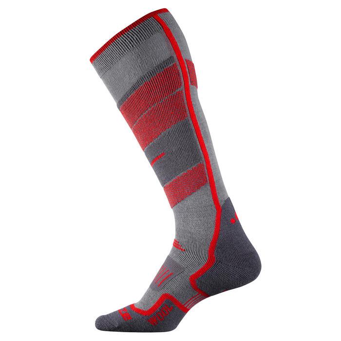 Skisokken voor volwassenen 300 grijs/rood