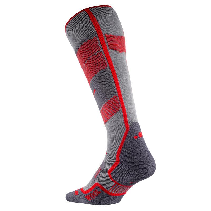 ถุงเท้าสกีสำหรับผู้ใหญ่รุ่น 300 (สีเทา/แดง)