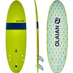 Tabla Surf Espuma Evolutiva Olaian 100 6' Niño Verde Azul Estampado Leash Quilla