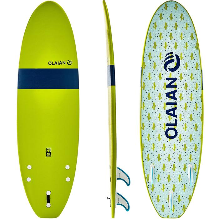 Tabla Surf Espuma Evolutiva Olaian 100 6' Niño Verde Azul Estampado Leash Quilla