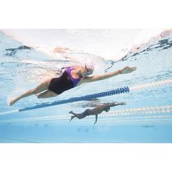 Bañador de natación una pieza mujer resistente al cloro Leony Negro Violeta