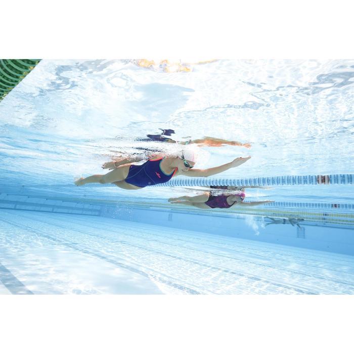 Bañador de natación una pieza para mujer, resistente al cloro Kamiye Negro Rosa