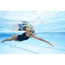 Damesbadpak zwemmen Kamiye+ blauw/groen