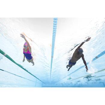 Bañador de natación una pieza mujer resistente al cloro Leony Cut azul rosa