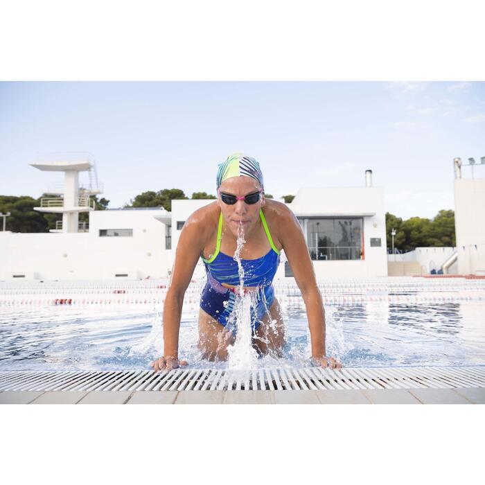 Maillot de bain de natation une pièce femme résistant au chlore Lidia bleu navy - 1313879