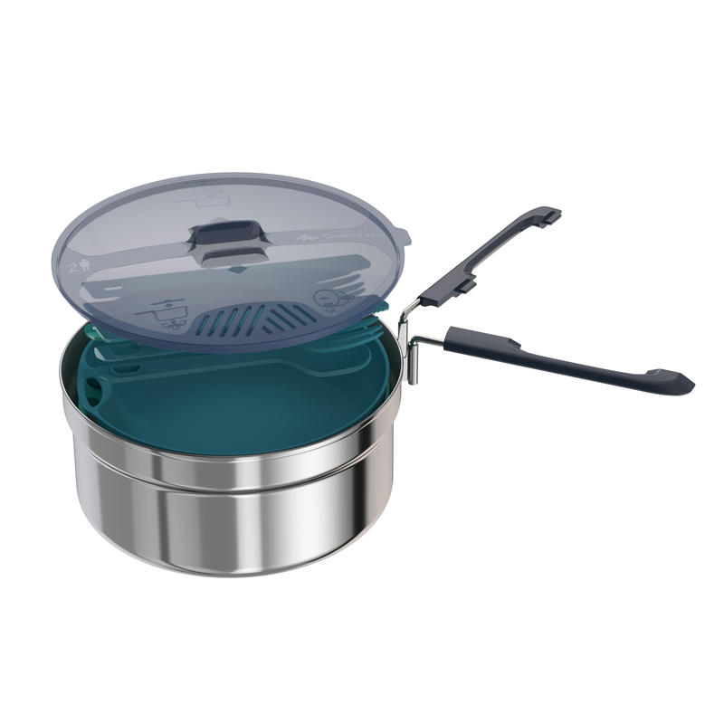 Mountain Hiking 2 person camp stainless cook set (1.6L) MH 100