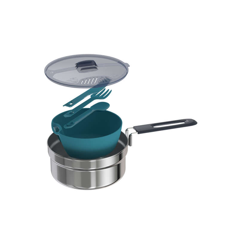 HIKING CAMP STOVES, COOKSETS, CARTRIDGES Camping - MH100 Cookset stainless 1P QUECHUA - Camping Cooking Equipment