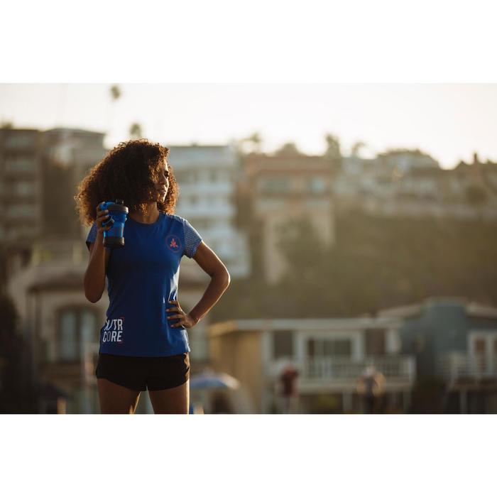 Camiseta Manga Corta Cross Training Musculación Domyos 500 Mujer Azul Ultramar