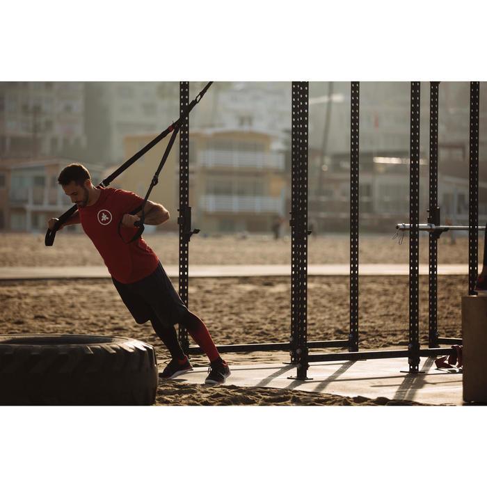 男款交叉訓練緊身褲-黑色/紅色