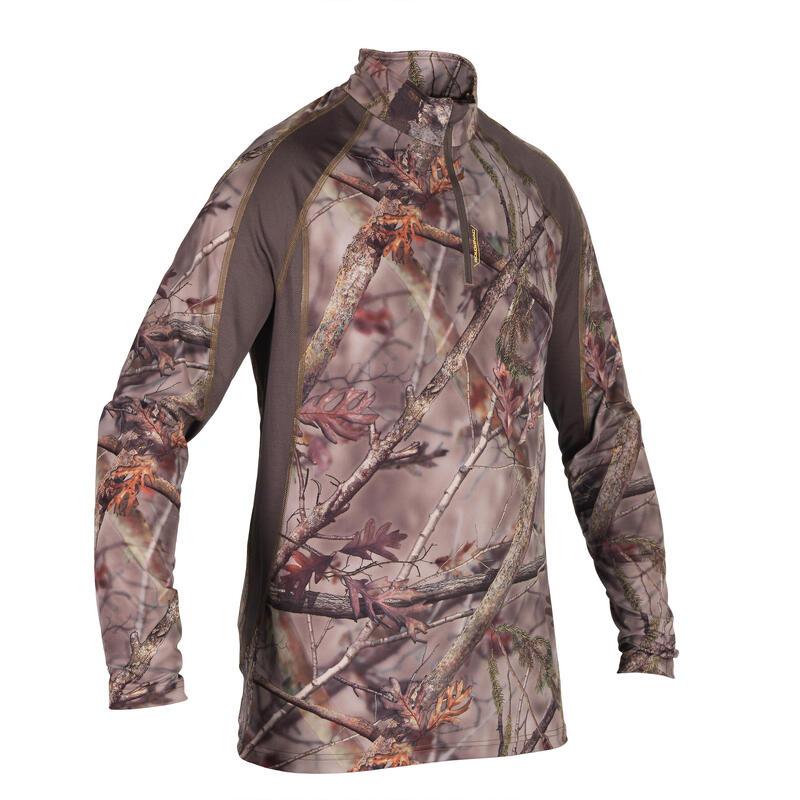 Lovecké prodyšné tričko s dlouhým rukávem 500 maskovací s motivem lesa