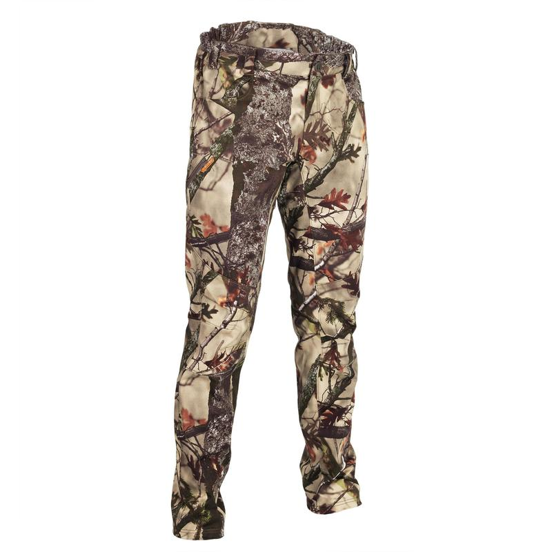 Pantalon chasse 500 Silencieux Respirant Stretch CAMOUFLAGE FORET