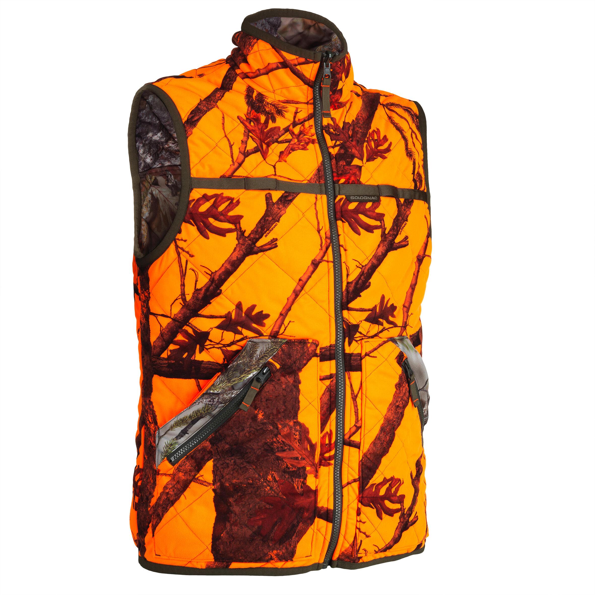 Jagdweste Camouflage wendbar orange 100 | Bekleidung > Westen > Jagdwesten | Solognac